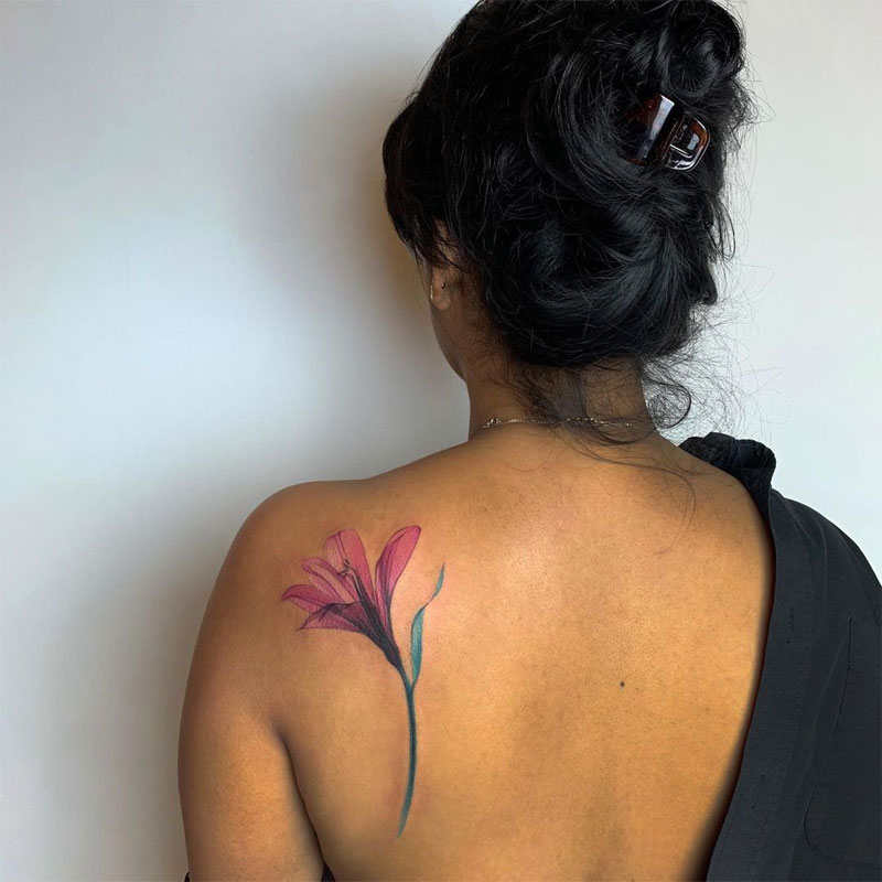 Watercolor Lily Flower Tattoo