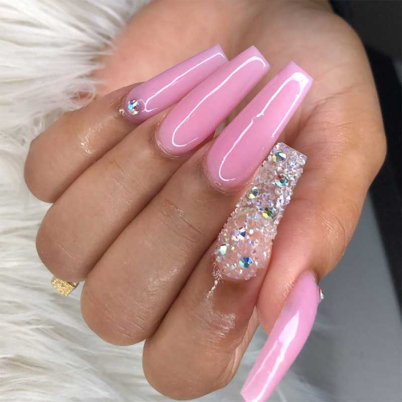 Pink Acrylic Nails with Crystals