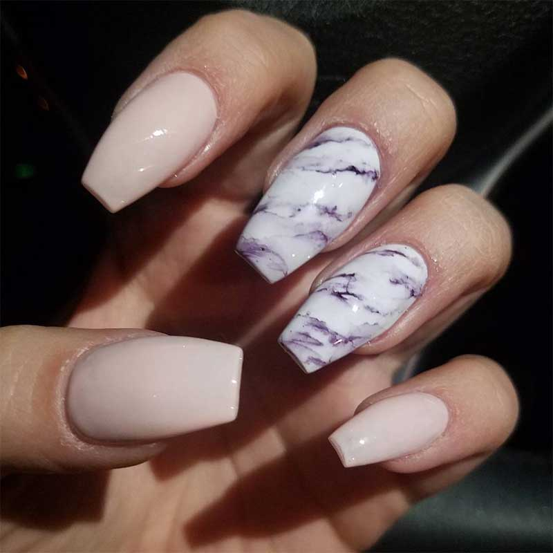 Marble Coffin Nails