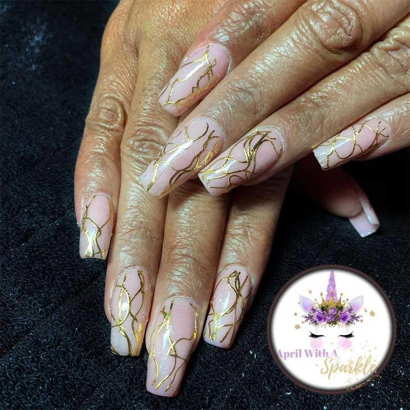 Nude Acrylic Nails with Gold Lines