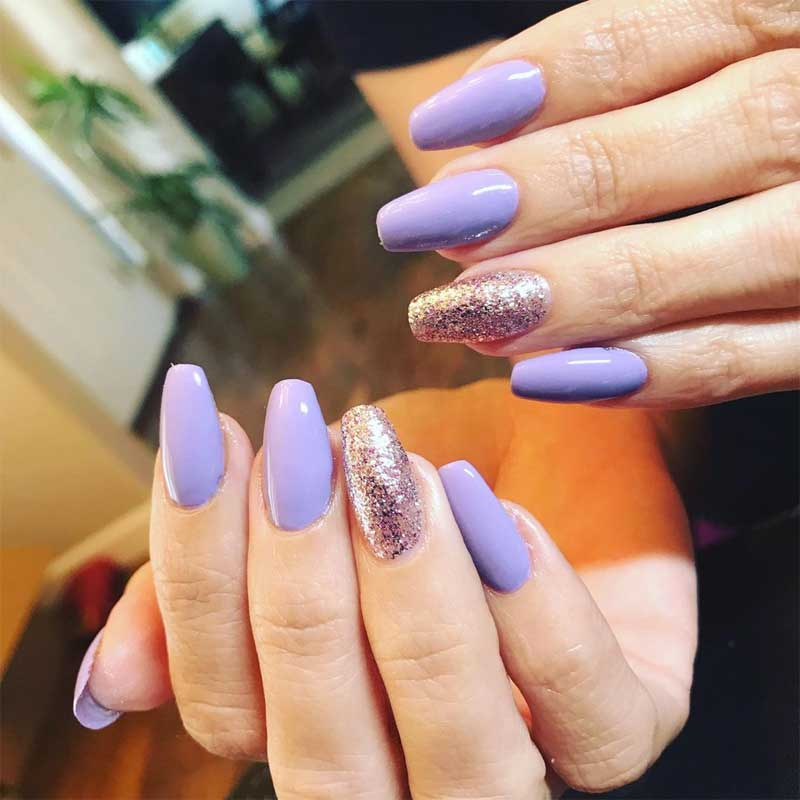 Purple Coffin Nails with Glitter